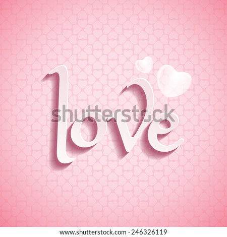 Valentine�s Day LOVE font type with love pattern background.