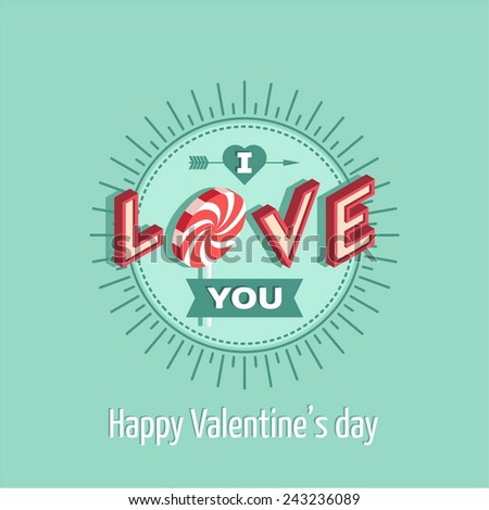 Valentine's Day love greeting card - stock vector