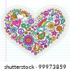 Valentine's Day Love Heart Groovy Psychedelic Hand Drawn Notebook Doodle Design Elements Set on Lined Sketchbook Paper Background- Vector Illustration - stock photo