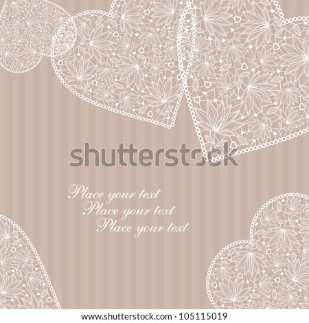 Valentine's Day Love & Hearts card with lace hearts - stock vector