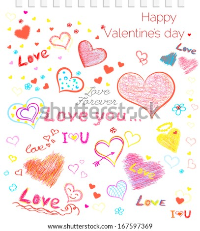 Valentine's Day Love & Hearts Sketchy Notebook Doodles.vector - stock vector