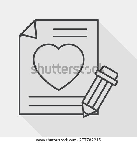 Valentine's day love letter flat icon with long shadow, line icon - stock vector