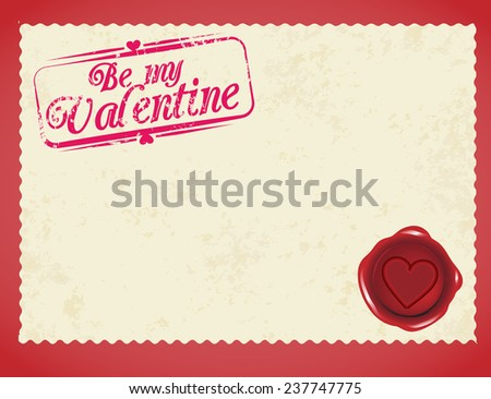 Valentine's  day love post card, blank old letter vector - stock vector