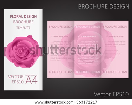 Valentines Day Wedding Brochure Template Rose Stock Vector Hd