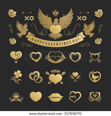 Valentine's Day or Wedding Vintage Objects and symbols Set: Hearts, Love Labels, Arrow, flowers, ribbons and Icons. Vector design elements. Valentines Day Hearts, Valentines symbols, Valentines icons.