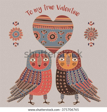 Valentine's Day. Owls in love. Love cards. - stock vector