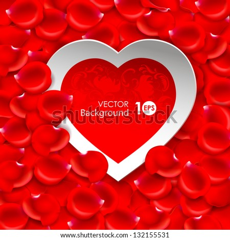 Valentine's Day. Paper heart on a background of red rose petals. Vector eps 10. - stock vector