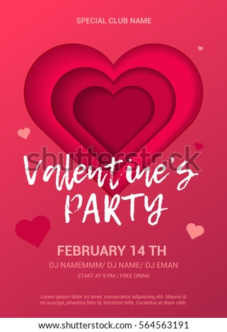 Valentines Day Party Flyer Bright Poster Stock Vector 564563191