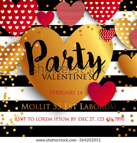 Valentine's Day Party Invitation. All you need is love. Gold glitter texture Gold sparkles on white background.  Set of Gold hearts - stock vector
