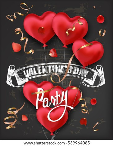 Valentine's Day party invitation card with red heart shaped air balloons and blackboard background. Vector illustration