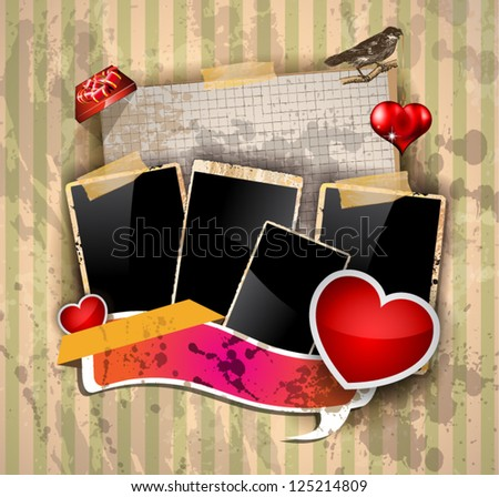 Valentine's Day party invitation flyer background with love themed elements. Ideal for cover or posters. - stock vector