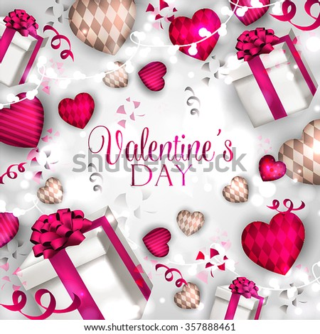 Valentine's Day Party Invitation with hearts an garland. - stock vector