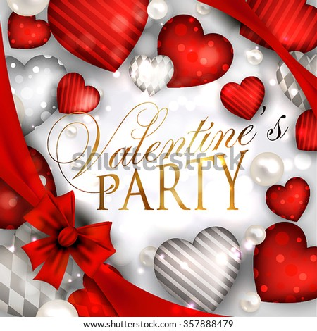 Valentine's Day Party Invitation with hearts an garland  - stock vector