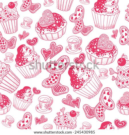 Valentine's Day Pattern with cupcake (pink)