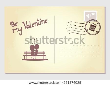 Valentine's day postcard - stock vector