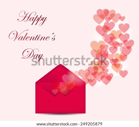 Valentine's day postcard with bokeh hearts on pink background. Vector illustration. - stock vector