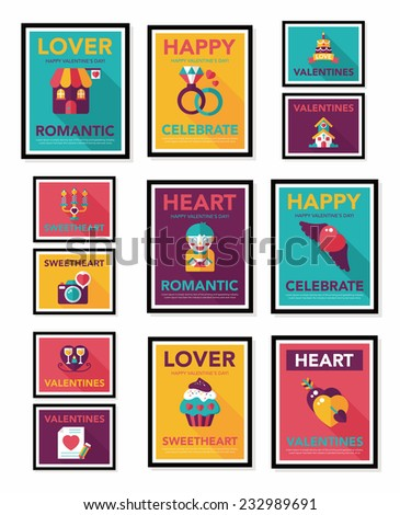 Valentine�¢??s Day poster flat banner design flat background set, eps10