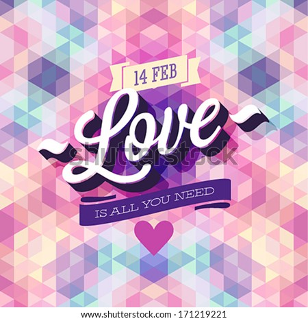 Valentine`s day Poster. Vector illustration. - stock vector