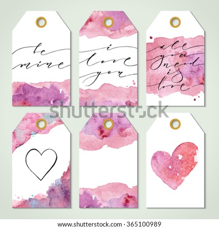 Valentine's day present card templates with modern calligraphy and watercolor texture. Brush painted letters, vector illustration. - stock vector