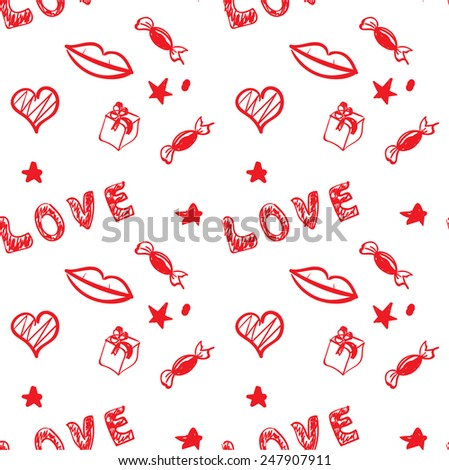 valentine's day red seamless background. vector eps8 - stock vector