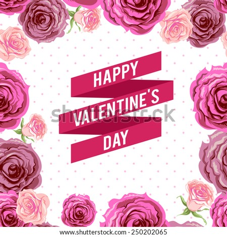 Valentine's day ribbon and roses. Holiday background. - stock vector