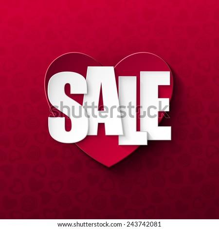 Valentine`s day sale background - stock vector
