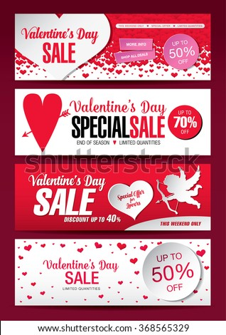 valentine's day sale banners - stock vector