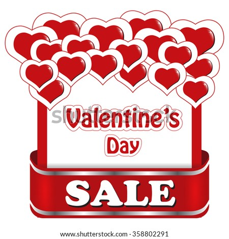 Valentine's day sale design for advertising with red hearts. - stock vector