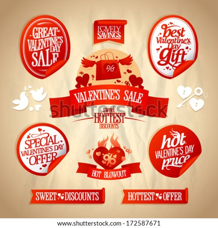 Valentine`s day sale designs and stickers collection in retro style.  Eps10. - stock vector