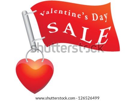 Valentine's day sale flag on heart