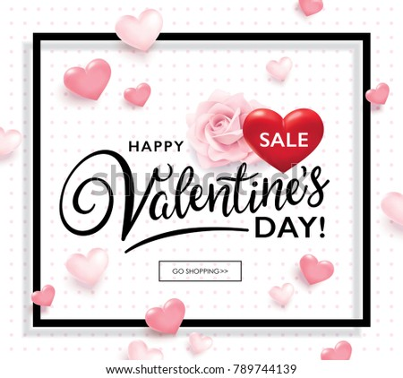 Valentine's day sale poster with hearts and rose