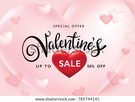 Valentine's day sale poster with pink hearts background