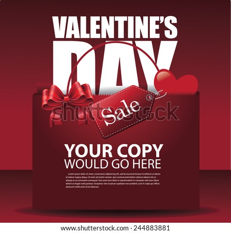 Valentine's day sale shopping bag background EPS 10 vector stock illustration - stock vector