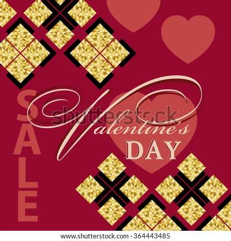 Valentine's day sale shopping on the background of hearts and gold texture. vector  illustration