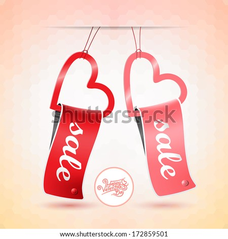 Valentine's day sales tag (template). Vector illustration for design.