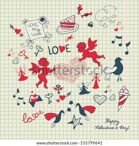 Valentine's day scrapbook page with love sketch - stock vector