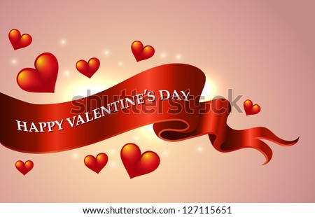 Valentine`s Day scroll greeting banner - vector illustration. - stock vector