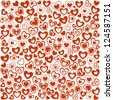 Valentine's Day Seamless Background of Red Hearts, Vector Version - stock vector
