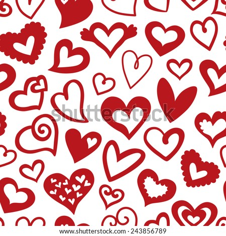 Valentine's Day Seamless pattern of Red Hearts, Vector illustration - stock vector