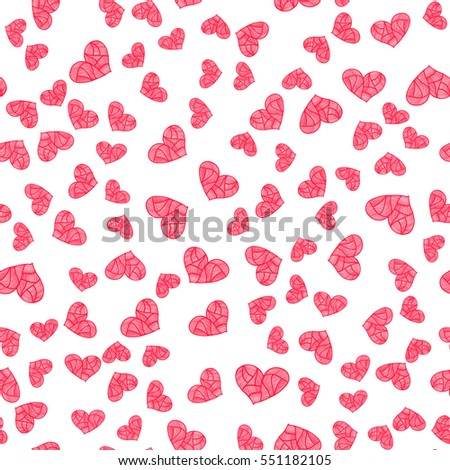 Valentine's Day seamless pattern with hand drawn hearts. Bright vector illustration.