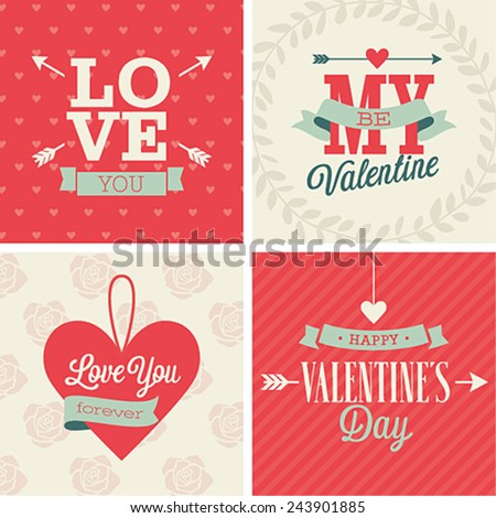 Valentine`s day set - four cards. Vector illustration. - stock vector