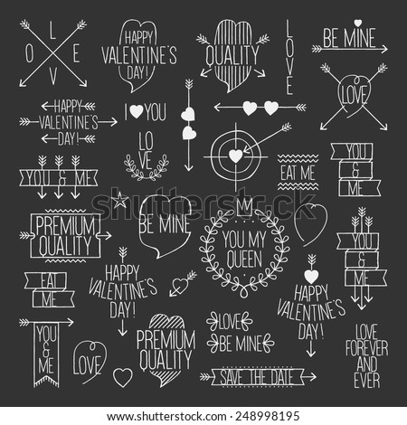 Valentine's Day set - hand drawn style elements - stock vector