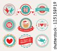Valentine`s Day set - labels and emblems. Vector illustration. - stock vector
