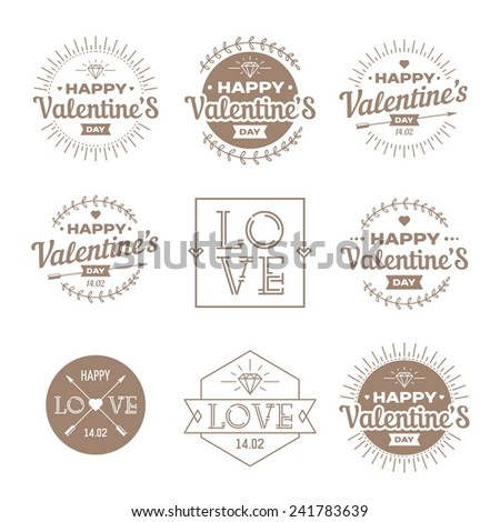 Valentine`s day set - labels, emblems. - stock vector