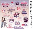 Valentine`s day set - labels, emblems and other decorative elements. - stock