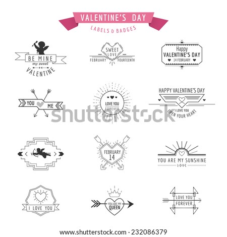 Valentine's Day - Set of Badges and Labels - in vector - stock vector