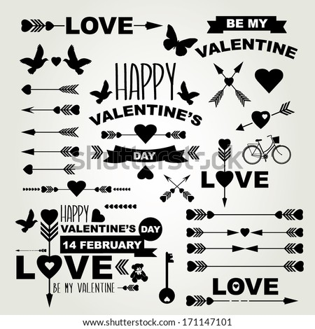 Valentine's Day set of symbols.Typography.Vector illustration. - stock vector