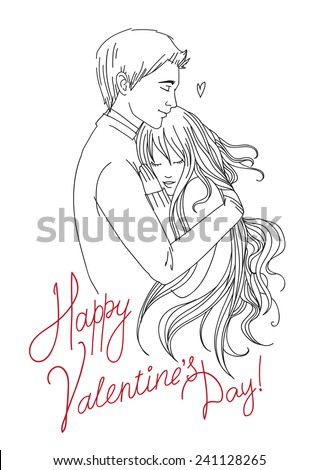 """Valentine's Day simple greeting card. Portrait of hugging young couple with text """"Happy Valentine's Day"""" - stock vector"""