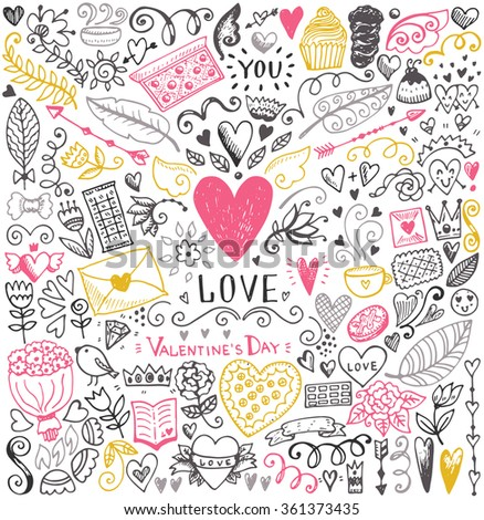 Valentine's day sketch pattern. Romantic vector elements. Illustration with hearts and flowers.
