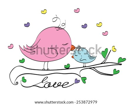 Valentine's Day special greeting card / T-shirt Graphics / graphic illustration for Mother's Day / love birds / I love you mom / cute bird illustration for children / bird graphics greeting card - stock vector